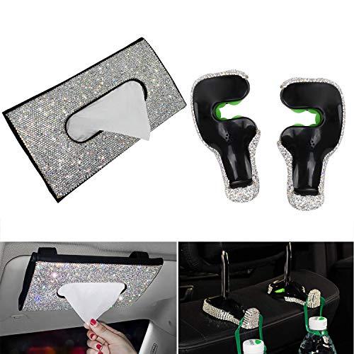 CarBoss Bling Bling Car Visor Tissue Holder, Leather Crystal Diamond Sun Visor Tissue Box Napkin Holder Paper Case with Tissues & 2 PCS Bling Car Back Seat Headrest Hanger Holder Hooks for Women