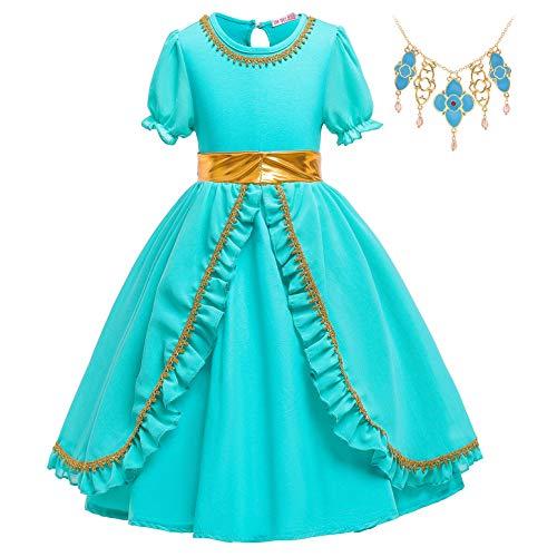 YOSICIL Vestido de Princesa Jazmn Disfraz y Accesorios Collar Aladdin Princesa Jasmine Manga Corta Vestido Elegante de Fiesta Boda Traje Cosplay Actuacin Carnaval Navidad