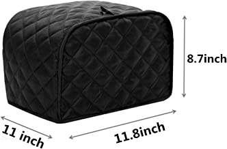 sansheng Polyester Fabric Quilted Four Slices of Toaster Electrical dust Cover, Toaster Protection Device, Standard Four Slices of Toaster, Black
