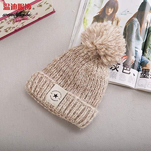 BZAHW La Nueva Bola Gorro de Lana de Corea del Sombrero de Punto ovo otoño Estrella de Cinco Puntas de la Moda Femenina Color Mezclado Sombrero de Invierno Femenina