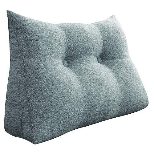 VERCART Kopfkissen Rückenkissen Nackenrolle für Bett Sofa Kopfteil Wohnzimmer Schlafzimmer mit Waschbar Bezug Leinen Grau 80cm