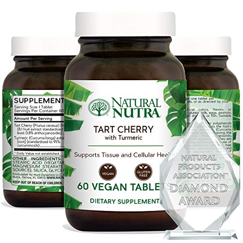Natural Nutra Tart Cherry Extract with Turmeric Curcumin, Supplement for Inflammation Relief and Joint Health, 60 Vegan Tablets