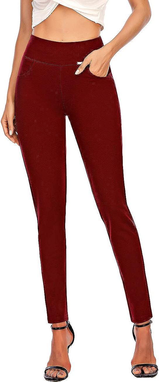 neezeelee Women's Comfort Slim Stretch High Waist Skinny Leg Easy into Pull on Work Dress Pants (Red, S)