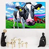 アートプリントポスターとプリント動物の絵画草地の牛壁の写真リビングルームの装飾壁画のキャンバスに印刷-60x90cmフレームなし