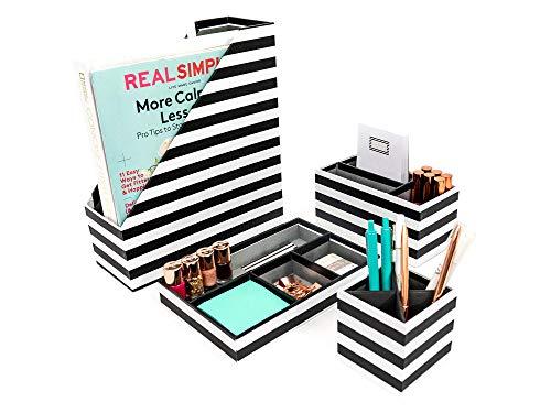 Blu Monaco Black - White Stripes Desk Organizers and Accessories - 4 Piece Desktop Cubicle Decor Set - Letter - Mail Organizer, Desk Organizer Caddy Tray Office Supplies, Pen Cup, Magazine File Holder