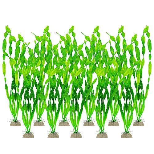 PETLOFT Grandes plantas artificiales de acuario, accesorios de decoración de peceras, de plástico, 12 pulgadas, plantas de acuario,...