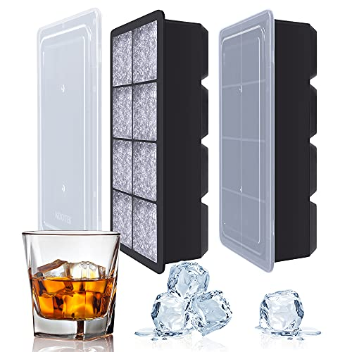 Kootek Large Ice Cube Trays 2 Pack Silicone Ice Cube Molds with Lid 8 Cavity Flexible Ice Mold for Beverages Whiskey Wine Cocktail Coffee Juice