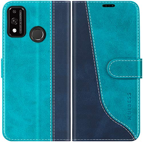 Mulbess Handyhülle für Huawei Honor 9X Lite Hülle Leder, Huawei Honor 9X Lite Handy Hüllen, Modisch Flip Handytasche Schutzhülle für Huawei Honor 9X Lite, Mint Blau