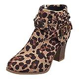 Sanahy Schuhe für Frauen runde Kopf Leder Reißverschluss Niet High Heel Booties Schuh Mode Stiefel Biker Heel Block 8CM