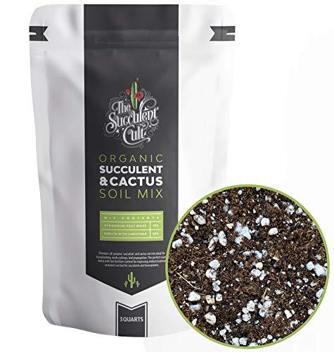 Premium Organic Succulent & Cactus Soil Mix, Fast Draining Pre-Mixed Blend (3 Dry Quarts)