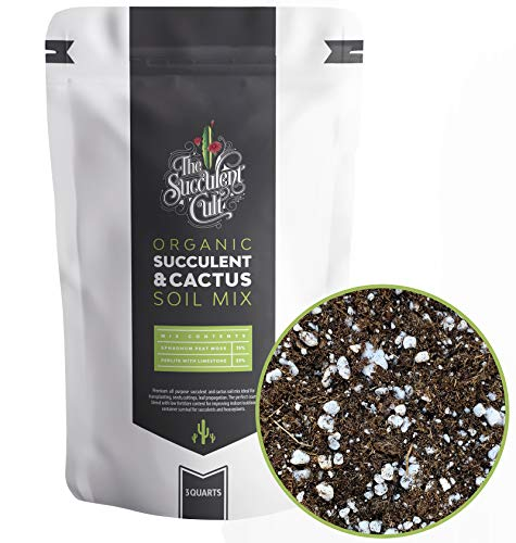 Organic Potting Soil, Succulent & Cactus Soil Mix, Fast Draining Pre-Mixed Blend (3 Dry Quart)