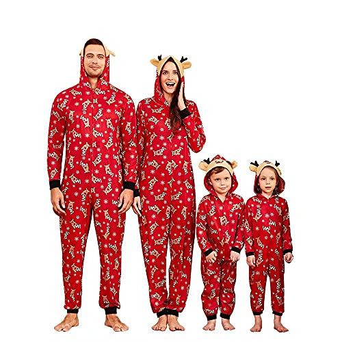 Yaffi Family Matching Pijamas Christmas Festival Onesie One Piece Xmas Deer Hooded Jumpsuit Ropa de Dormir Loungewear para papá, mamá y yo Pjs Lounge Wear Mujeres Medianas