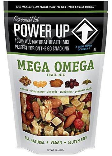Gourmet Nut POWER UP 100% All Natural Health Mix Mega Omega Trail Mix Non-GMO, Vegan, Gluten Free, No Artificial Ingredients 14oz