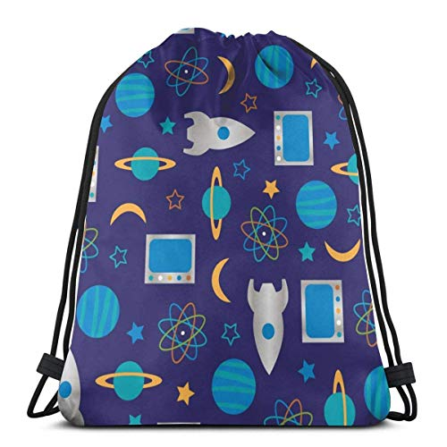 Lsjuee Mochila con cordón Rocket and Planet Canvas Bulk Sackpack para hombres mujeres String Sports Gym Bag
