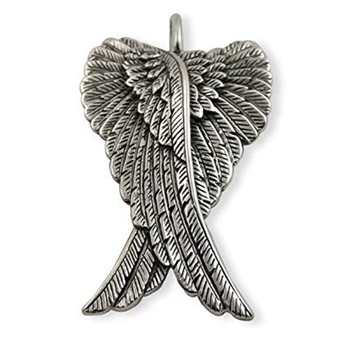 Extra Large ANGEL WING Sterling Silver Necklace - Ideal Mens Womens Pendant Necklace - 925 Sterling Silver - Comes On Thick 22' Inch Sterling Silver Chain