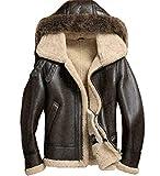 Men's Sheepskin Shearling Detachable Hooded B3 Flight Jacket Raccoon Fur Collar Aviator Coat (4XL)