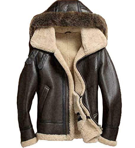 Men's Sheepskin Shearling Detachable Hooded B3 Flight Jacket Raccoon Fur Collar Aviator Coat (L)