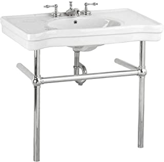 White Console Sink Belle Epoque Deluxe With Chrome Bistro Legs