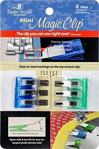 Taylor Seville Stoffklammern Magic Clips 6er Pack, Mini Kurzwaren, Metall/Kunststoff, Blau/grün, 18 x 11,5 x 2 cm, 6-Einheiten