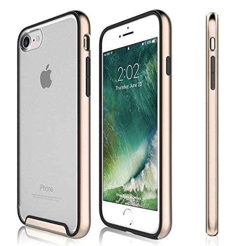 Funda iPhone 8, iPhone 7 - KHOMO Carcasa Transparente Triple Protección con Borde Bumper Case de Colores Antichoque para el Nuevo Apple iPhone 8 - Dorado