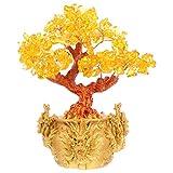 BESPORTBLE 25CM Kristall Geldbaum Feng Shui Edelstein Reichtum Baum Bonsai Glücksbaum mit Yuan Bao Barren für Reichtum Glück 2021 Chinesisches Neujahr Frühlingsfest Party Tischdeko Geschenke