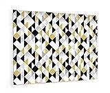 Impression Murale® - Fond de hotte, crédence de cuisine en Verre de synthèse avec fixation adhésive'Motif géométrique triangle noir et or' L. 90 x H. 70 cm - Epaisseur 4 mm