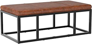 Nathan James Nelson Coffee Table Ottoman, Living Room Entryway Bench with Faux Leather Tuft and Black Iron Frame, Warm Brown