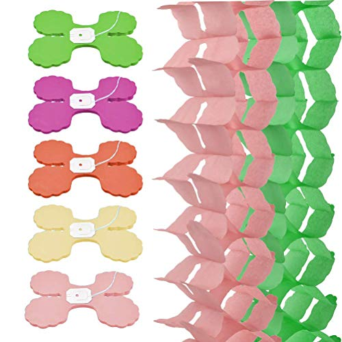 QLOUNI 10pcs Rainbow Four Leaf Tissue Paper Garland