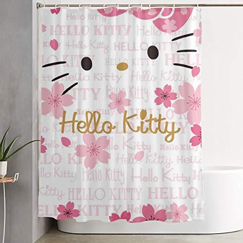 LIUYAN Cortina de ducha con gancho – Hello Kitty cara impermeable tela de poliéster decoración de baño 60 x 72 pulgadas