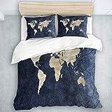 QINCO Bedding Juego de Funda de Edredón,Impresión Azul de Las Ilustraciones del Mapa del Mundo Continental del océano Azul,Microfibra (Cama 140x200 + Almohada 50X80),Single