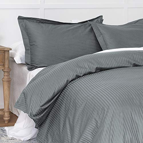 Duvet Cover Dark Grey Twin, Classic Damask Pinstripe Pattern, 100% Long Staple Cotton 400TC with Silky & Luxury Sateen Woven, Cool & Breathable, Luxury Royal Hotel Style Clean Look Duvet Cover