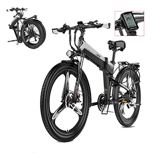 Elektrofahrräder Mountainbike, E-Bike Klapprad Fahrrad 26 zoll Elektrofahrrad,48V 400W 5-Gang Ebike Herren Damen Klappfahrrad, Elektro Klapprad 12.8 AH Herausnehmbare Lithiumbatterie,Silber