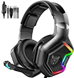 GLEENFIT RGB Gaming Headset,PS5&PS4 Headset with Microphone,Xbox One Headset with Noise Canceling Mic,PC Headset with 7.1 Bass Surround Sound,Nintendo Switch Headset with Soft Memory Earmuffs-K10Pro