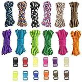 Pulluo Corde d'escalade Multifonction Corde Tressés Nautiques Bracelets Corde de Parachute pour Bracelets Bricolage Activités Extérieures 3Mètres 12 Couleurs(12pcs )