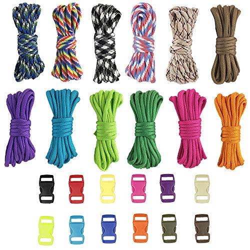Pulluo 12pcs Paracord Armband Set Bunt Schnüre Paracord Set Paracord Schnur Seile Paracord Armband Selber Machen Webart für Armband Schlüsselanhänger Anhänger