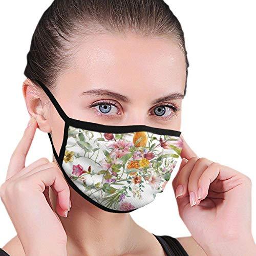Acuarela Pintura De Pájaro Y Flores Tela Media Mascarilla Boca Máscaras Con Orejeras Anti Polvo Anti Haze Máscara A Prueba De Viento
