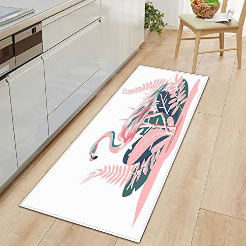 Felpudo para puerta de interior, color blanco, 40 x 60 cm, para pasillos, cocina, antideslizante, para uso general, para baño o estaciones de trabajo