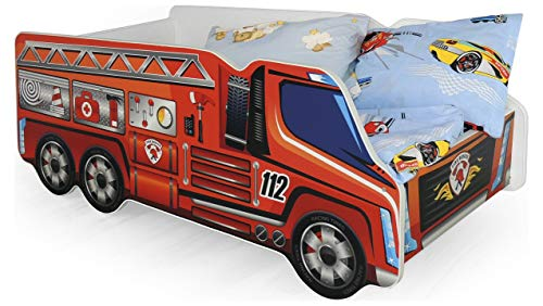 Stylefy Fire Truck Single Bed Children's Bed (H x W x L): 58 x 74 x 148 cm Car