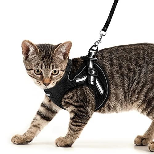 AOKCATS Katzengeschirr Set mit Leine, Ausbruchsicher Weiche Katzenleine mit Geschirr für Katzen Kitten, Verstellbar Kaninchengarnitur mit Reflektierenden Streifen für Spaziergang, M Schwarz
