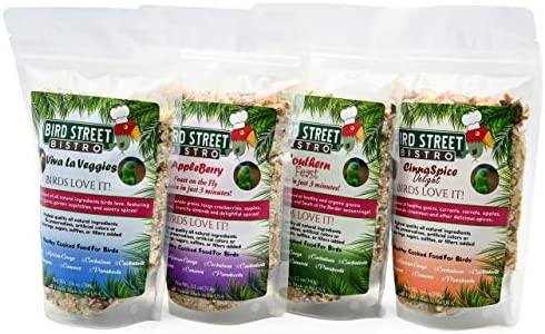 Bird Street Bistro Parrot Food Sample Pack Cooks in as Little as 3 to 15 min | All Natural & Organic Grains and Legumes, Healthy Fruits, Vegetables, and Spices - No Fillers or Additives