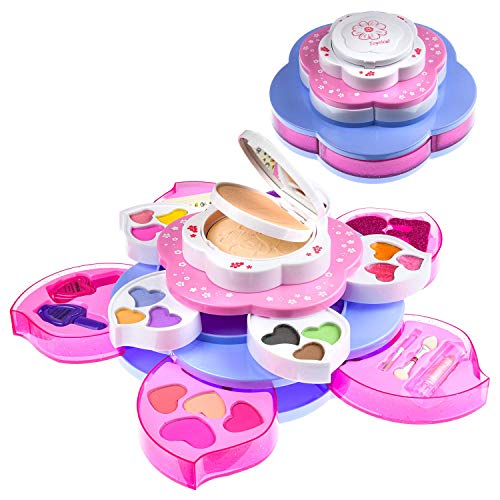Toysical Kids Makeup Kit for Girls - Flower Shaped, Non Toxic, Play Makeup Set for Girls, Little Girls Makeup Kit for Kids - Top Birthday for Ages 3, 4, 5, 6, 7, 8 Year Old Children