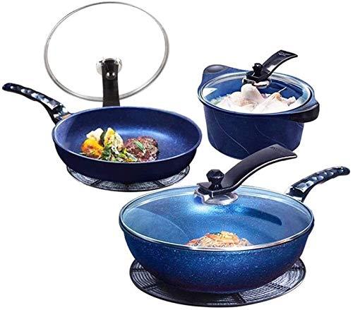 TYUIOYHZX Conjunto de utensilios de cocina de cocina, utensilios de cocina de cocina woks & stead-fry sarteza macetas y sartenes, conjunto de ollas de aleación de aluminio sin palanca wok sopa de sopa