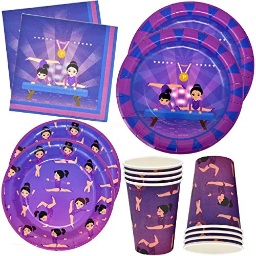 Gymnastic Party Supplies Tableware Set 24 9 Plates 24 7 Plates 24 9 oz Cups and 50 Lunch Napkins for Girls Gymnastics Star Disposable Dinnerware Olympic Gymnast Birthday Party Supplies Decorations