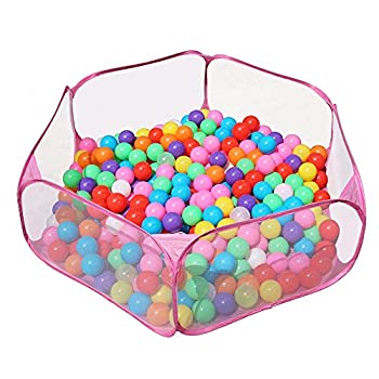 Jacone Portable Cute Hexagon Playpen Children Ball Pit,Indoor and Outdoor Easy Folding Ball Play Pool Kids Toy Play Tent with Carry Tote  Pink