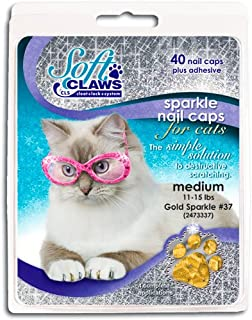 Soft Claws Feline Nail Caps - 40 Nail Caps and Adhesive for Cats (Gold Sparkle, Medium)
