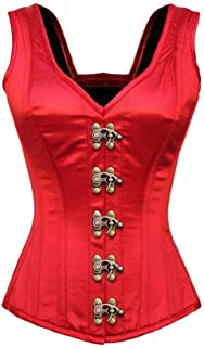 Red Satin Shoulder Straps Gothic Waist Training Front Seal Lock Overbust Corset