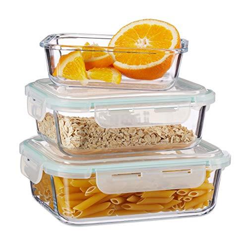 Relaxdays, klar Frischhaltedosen 3er Set Glas, Vorratsdosenset, BPA-Frei, hitzebeständig, Frischhaltebox, Clip-Deckel, Borosilikatglas, Plastik, Standard