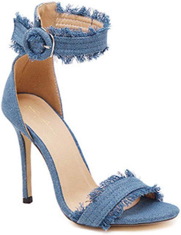 Sandals for Women, Denim Sandals for Women High Heels for Women Sandals Peep Toe Casual Summer Heeled Sandals