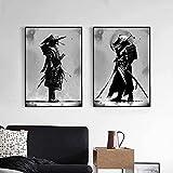 XIAOMA Retrato japonés Samurai de Bushido, pintura de guerreros japoneses, lienzo impreso, sala de estar, dormitorio, decoración, sin marco (50 x 70 cm x 2)