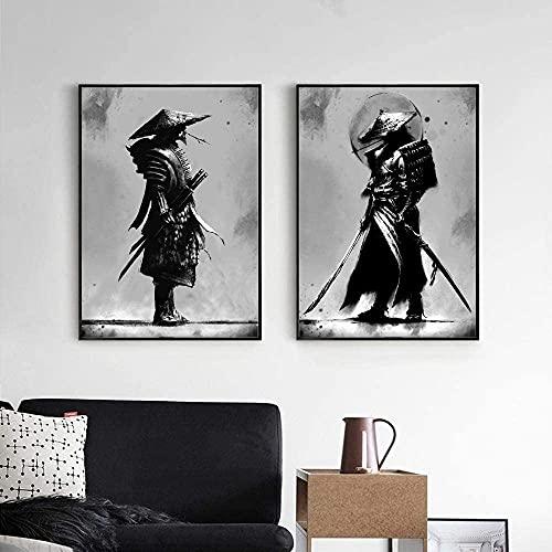XIAOMA Cuadro de pared Bushido japonés Samurai en blanco y negro, cuadro de guerreros japoneses, lienzo impreso, sala de estar, dormitorio, decoración, sin marco (30 x 45 cm x 2)